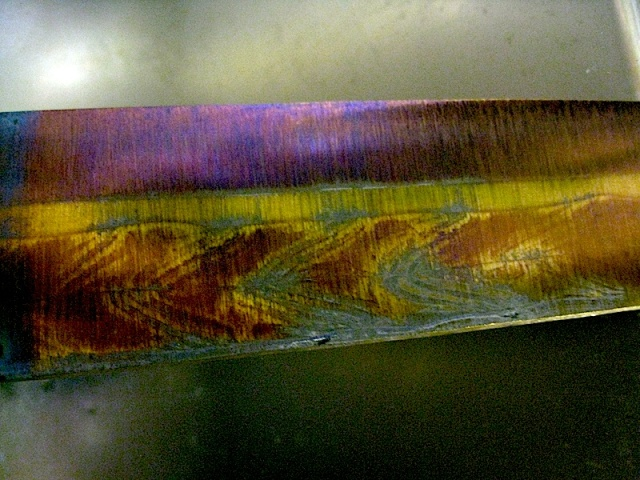the tempering process produces interesting oxidation colors